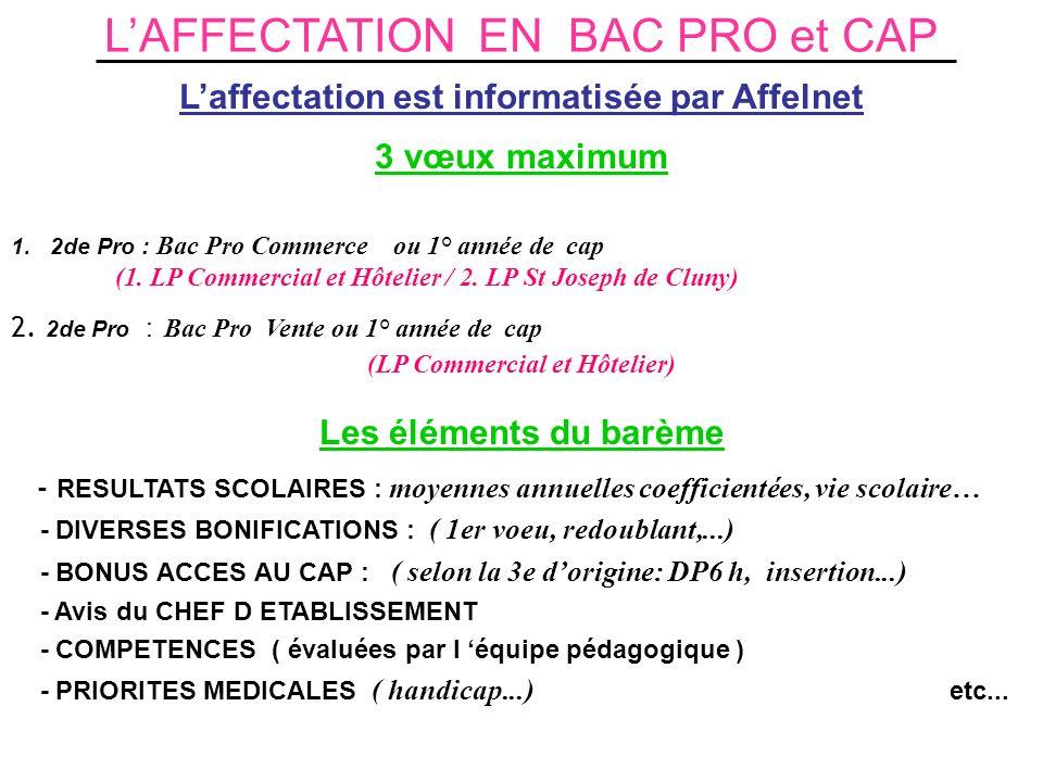 LAFFECTATION EN BAC PRO et CAP Laffectation est informatisée par Affelnet 3 vœux maximum 1.2de Pro : Bac Pro Commerce ou 1° année de cap (1. LP Commer