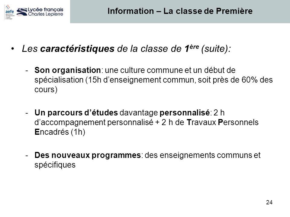 24 Les caractéristiques de la classe de 1 ère (suite): -Son organisation: une culture commune et un début de spécialisation (15h denseignement commun,