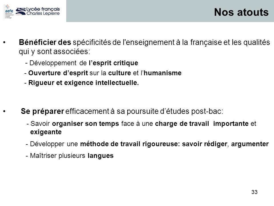 33 P / 33 Bénéficier des spécificités de l'enseignement à la française et les qualités qui y sont associées: - Développement de lesprit critique - Ouv