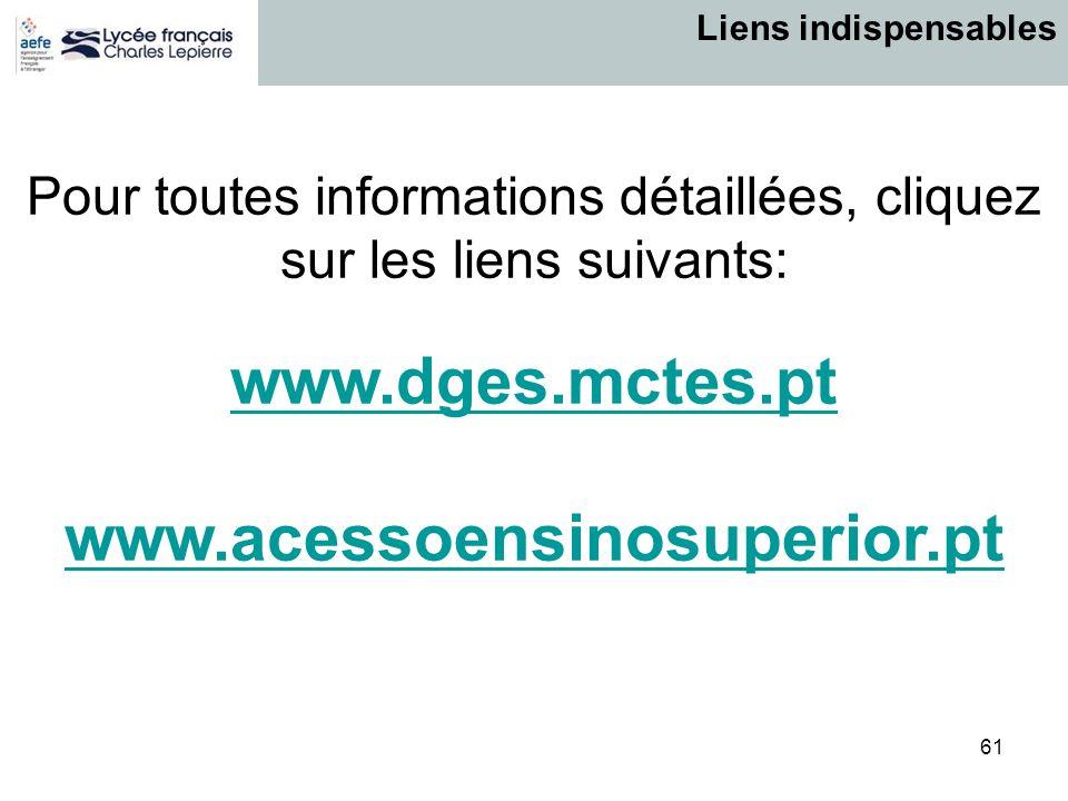 61 Pour toutes informations détaillées, cliquez sur les liens suivants: www.dges.mctes.pt www.acessoensinosuperior.pt Liens indispensables
