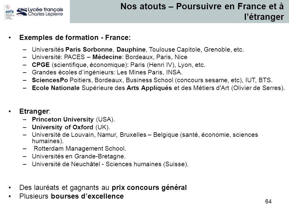 64 Nos atouts – Poursuivre en France et à létranger Exemples de formation - France: –Universités Paris Sorbonne, Dauphine, Toulouse Capitole, Grenoble