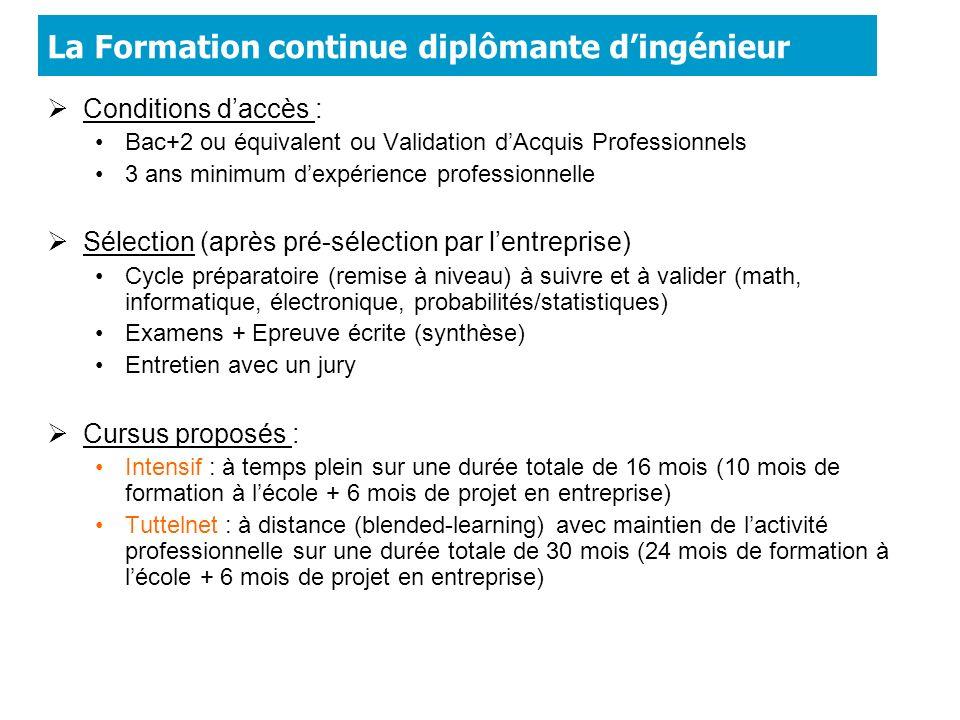 La Formation continue diplômante dingénieur Conditions daccès : Bac+2 ou équivalent ou Validation dAcquis Professionnels 3 ans minimum dexpérience pro