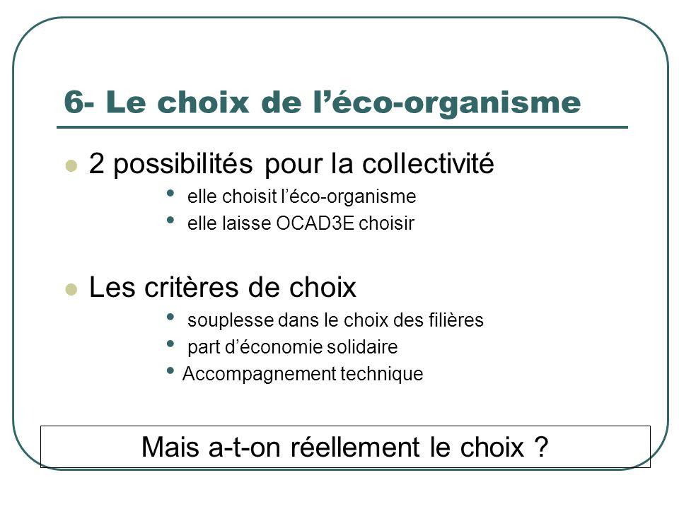 6- Le choix de léco-organisme 2 possibilités pour la collectivité elle choisit léco-organisme elle laisse OCAD3E choisir Les critères de choix souplesse dans le choix des filières part déconomie solidaire Accompagnement technique Mais a-t-on réellement le choix