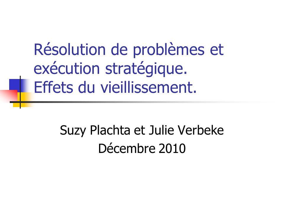 Résolution de problèmes et exécution stratégique. Effets du vieillissement. Suzy Plachta et Julie Verbeke Décembre 2010