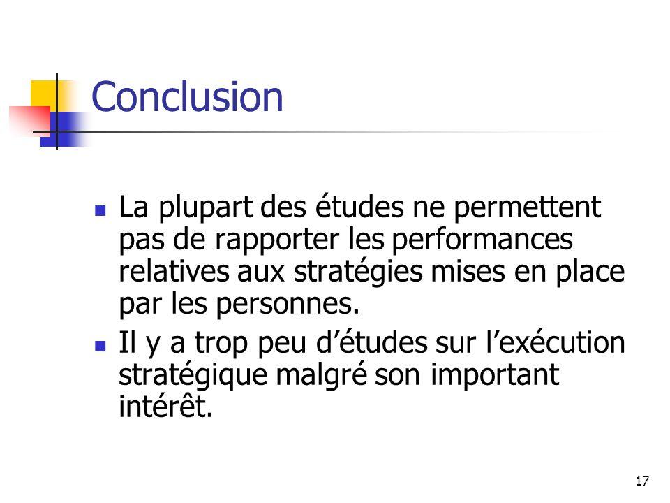 17 Conclusion La plupart des études ne permettent pas de rapporter les performances relatives aux stratégies mises en place par les personnes. Il y a