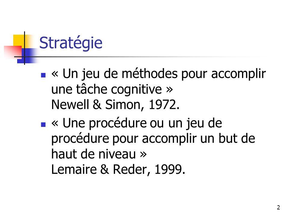 2 Stratégie « Un jeu de méthodes pour accomplir une tâche cognitive » Newell & Simon, 1972. « Une procédure ou un jeu de procédure pour accomplir un b