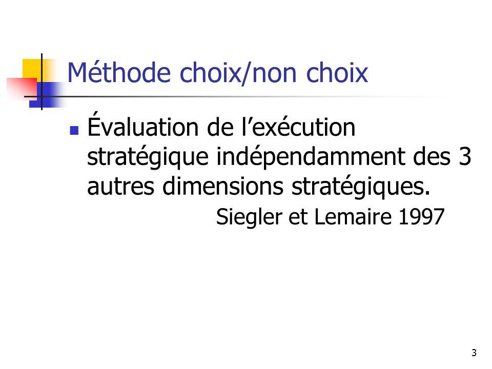 3 Méthode choix/non choix Évaluation de lexécution stratégique indépendamment des 3 autres dimensions stratégiques. Siegler et Lemaire 1997