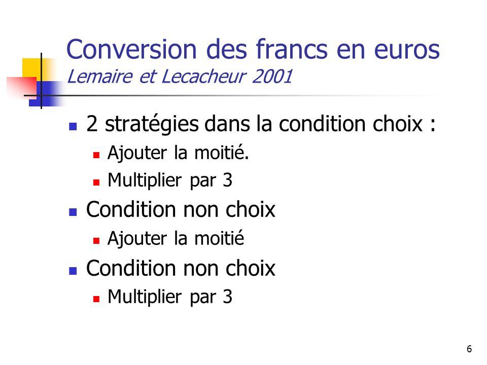 6 Conversion des francs en euros Lemaire et Lecacheur 2001 2 stratégies dans la condition choix : Ajouter la moitié. Multiplier par 3 Condition non ch