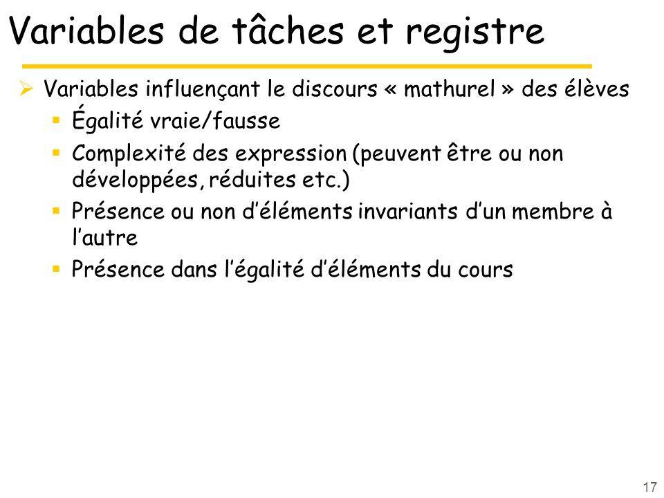 17 Variables de tâches et registre Variables influençant le discours « mathurel » des élèves Égalité vraie/fausse Complexité des expression (peuvent ê