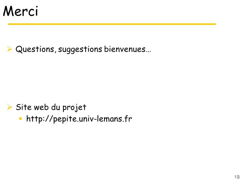 19 Merci Questions, suggestions bienvenues… Site web du projet http://pepite.univ-lemans.fr