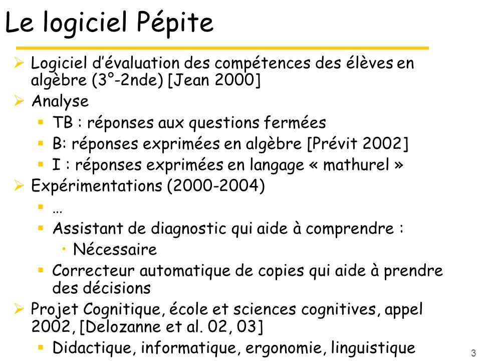 3 Le logiciel Pépite Logiciel dévaluation des compétences des élèves en algèbre (3°-2nde) [Jean 2000] Analyse TB : réponses aux questions fermées B: r