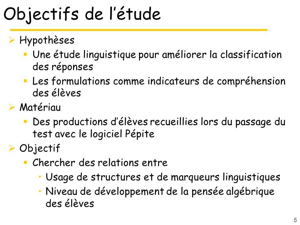 5 Objectifs de létude Hypothèses Une étude linguistique pour améliorer la classification des réponses Les formulations comme indicateurs de compréhens
