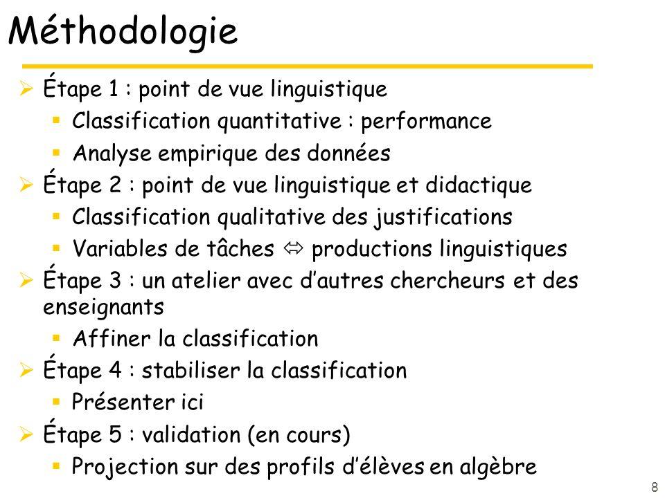 8 Méthodologie Étape 1 : point de vue linguistique Classification quantitative : performance Analyse empirique des données Étape 2 : point de vue ling