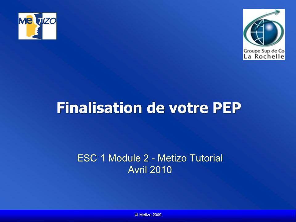 Metizo 2009 Finalisation de votre PEP ESC 1 Module 2 - Metizo Tutorial Avril 2010
