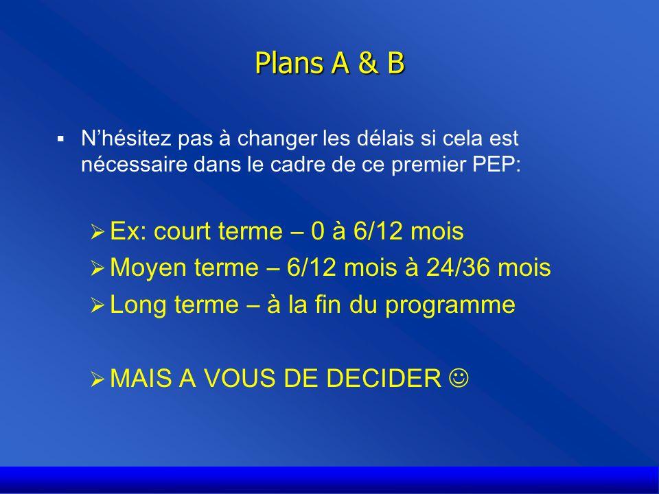 Plans A & B Nhésitez pas à changer les délais si cela est nécessaire dans le cadre de ce premier PEP: Ex: court terme – 0 à 6/12 mois Moyen terme – 6/12 mois à 24/36 mois Long terme – à la fin du programme MAIS A VOUS DE DECIDER