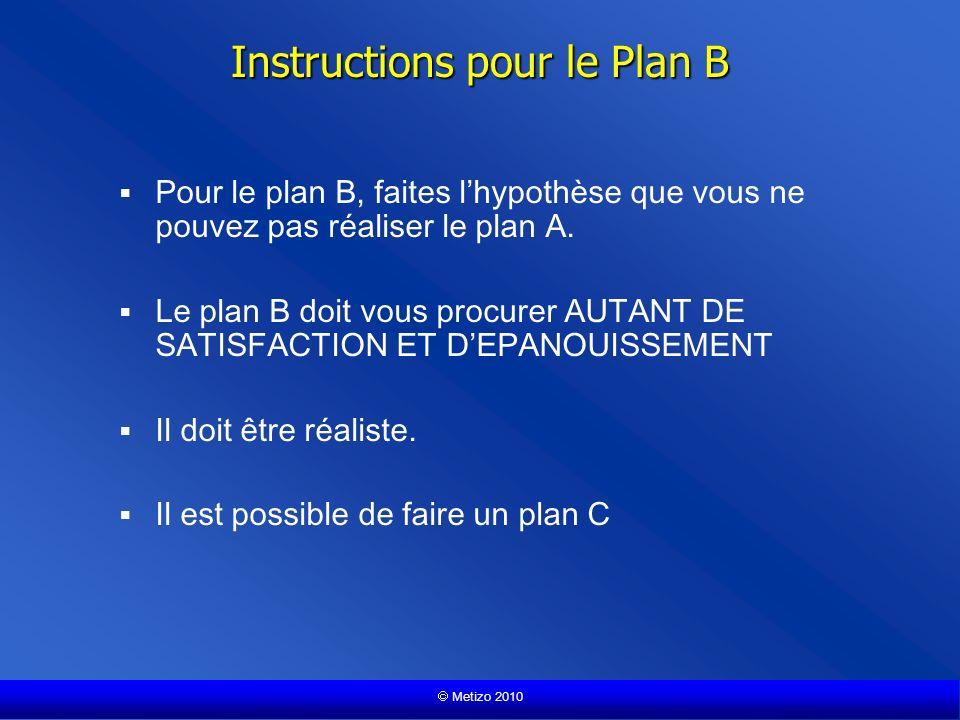 Metizo 2010 Instructions pour le Plan B Pour le plan B, faites lhypothèse que vous ne pouvez pas réaliser le plan A.