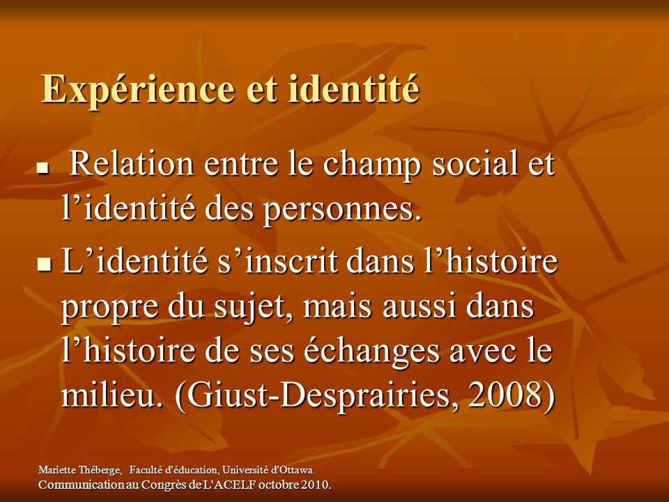 Expérience et identité Relation entre le champ social et lidentité des personnes. Relation entre le champ social et lidentité des personnes. Lidentité