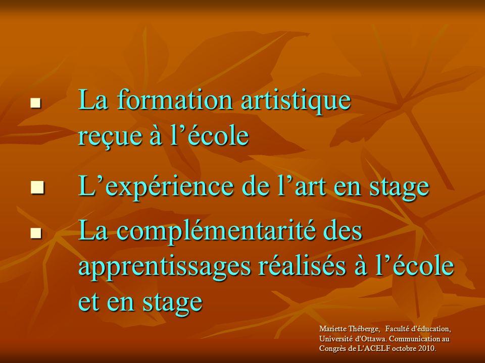 La formation artistique reçue à lécole Lexpérience de lart en stage La complémentarité des apprentissages réalisés à lécole et en stage