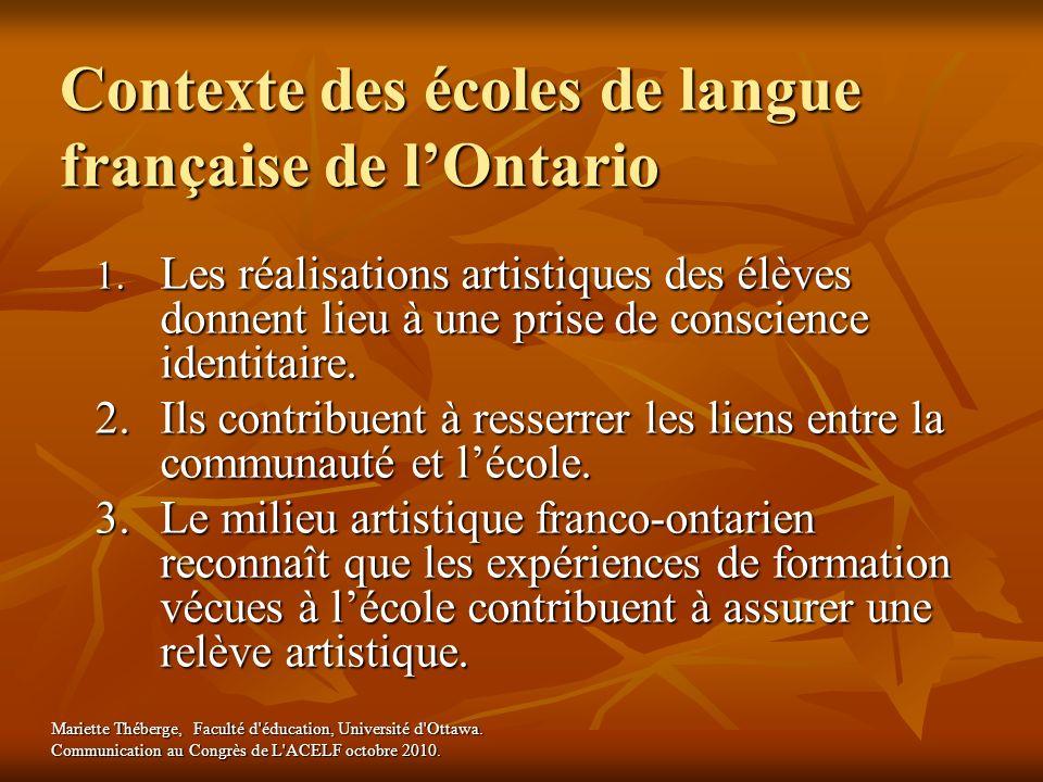 Contexte des écoles de langue française de lOntario 1. Les réalisations artistiques des élèves donnent lieu à une prise de conscience identitaire. 2.