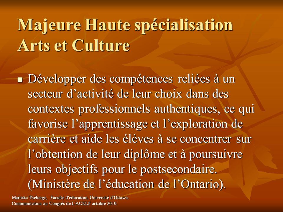Majeure Haute spécialisation Arts et Culture Développer des compétences reliées à un secteur dactivité de leur choix dans des contextes professionnels