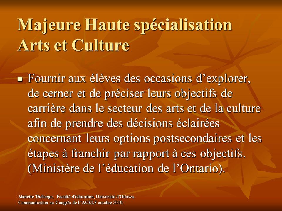 Majeure Haute spécialisation Arts et Culture Fournir aux élèves des occasions dexplorer, de cerner et de préciser leurs objectifs de carrière dans le