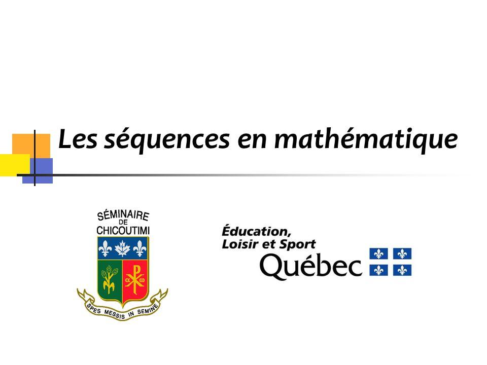 La mathématique au secondaire Le portrait des séquences Le choix dune séquence Les conditions particulières dadmission au collégial Période de questions