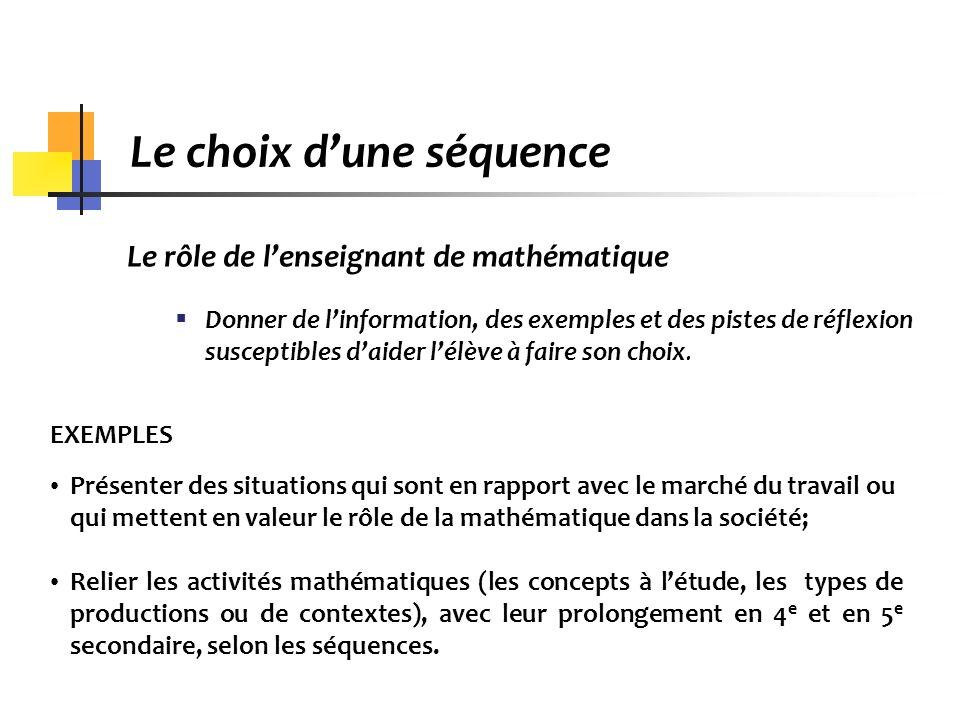 Le choix dune séquence Le rôle de lenseignant de mathématique Donner de linformation, des exemples et des pistes de réflexion susceptibles daider lélè