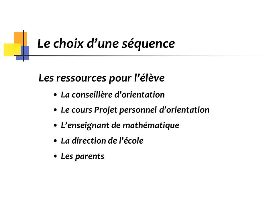 Le choix dune séquence Les ressources pour lélève La conseillère dorientation Le cours Projet personnel dorientation Lenseignant de mathématique La di