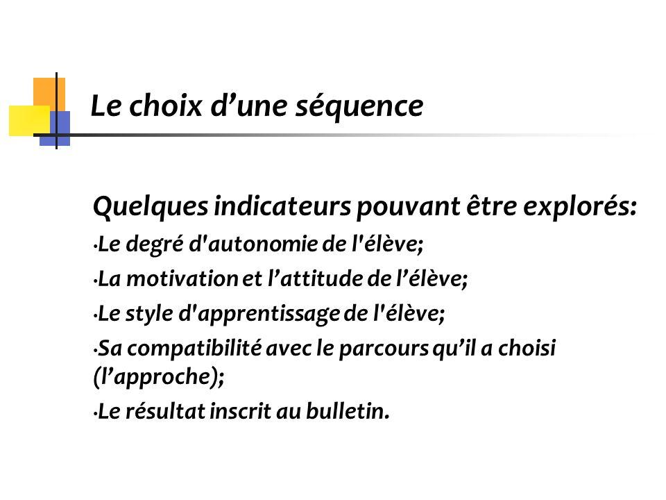 Le choix dune séquence Quelques indicateurs pouvant être explorés: Le degré d'autonomie de l'élève; La motivation et lattitude de lélève; Le style d'a
