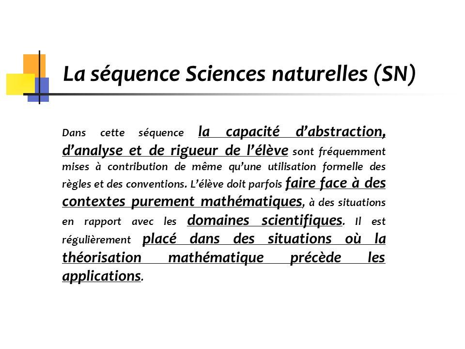 La séquence Sciences naturelles (SN) Dans cette séquence la capacité dabstraction, danalyse et de rigueur de lélève sont fréquemment mises à contribut