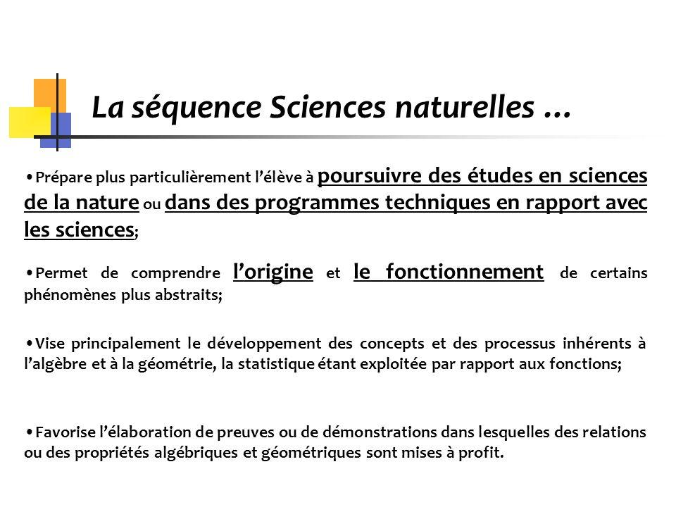 La séquence Sciences naturelles … Prépare plus particulièrement lélève à poursuivre des études en sciences de la nature ou dans des programmes techniq