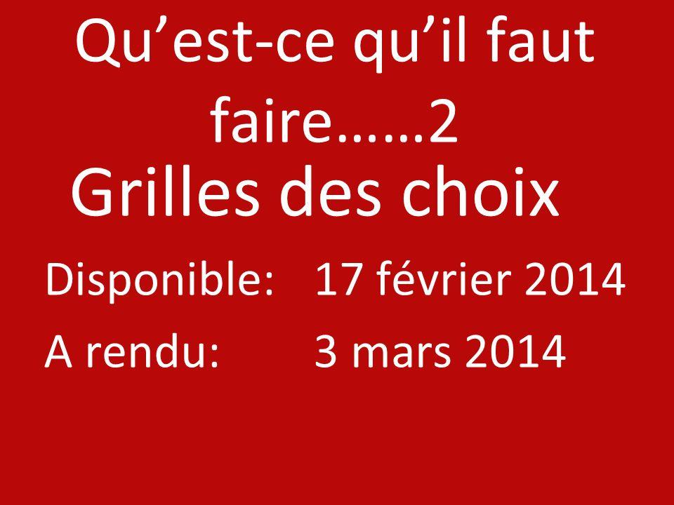 Quest-ce quil faut faire……2 Grilles des choix Disponible: 17 février 2014 A rendu: 3 mars 2014