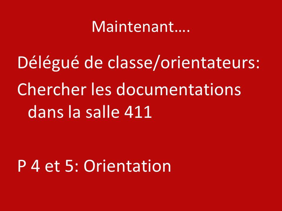Maintenant…. Délégué de classe/orientateurs: Chercher les documentations dans la salle 411 P 4 et 5: Orientation