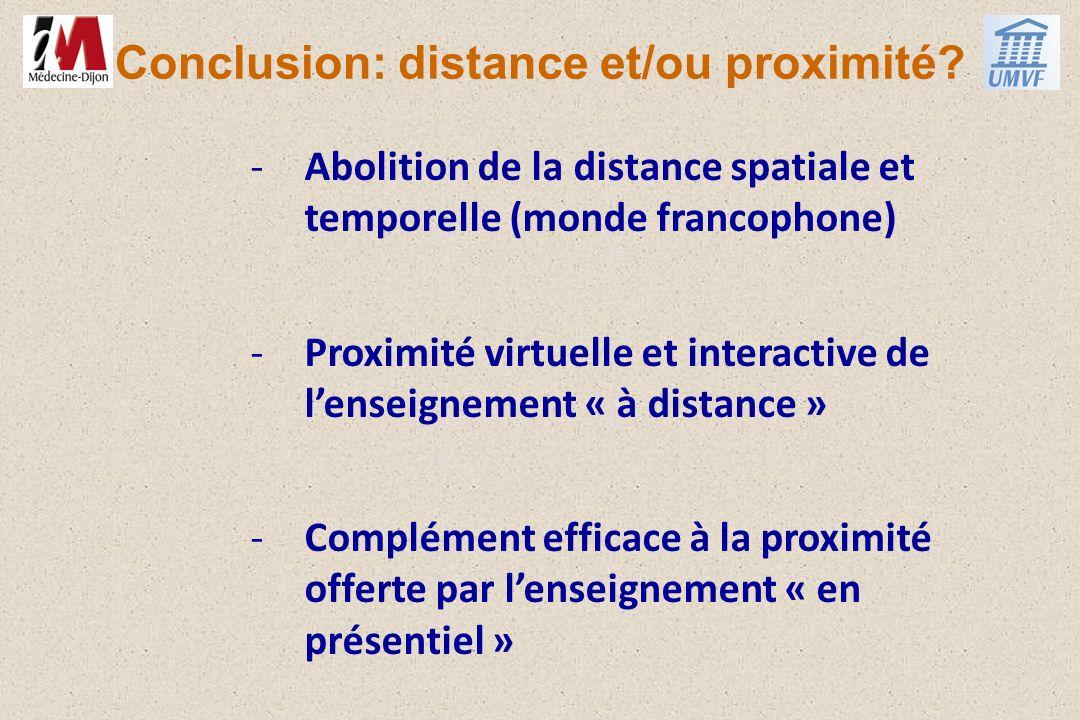 Conclusion: distance et/ou proximité? -Abolition de la distance spatiale et temporelle (monde francophone) -Proximité virtuelle et interactive de lens