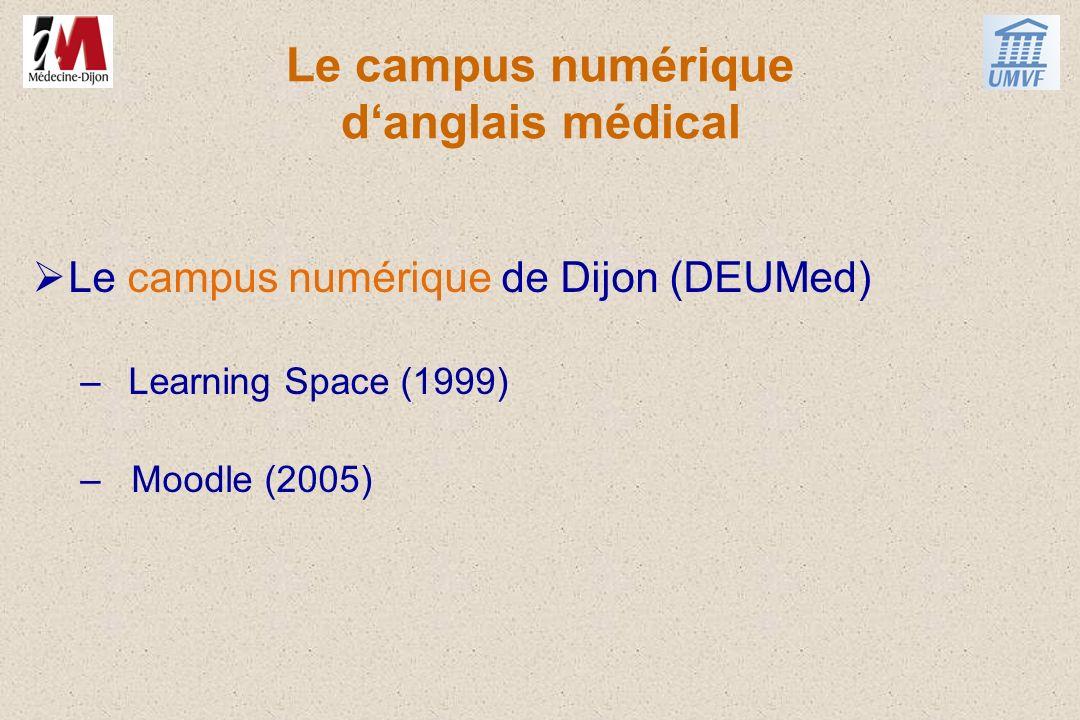 Le campus numérique danglais médical Le campus numérique de Dijon (DEUMed) –Learning Space (1999) – Moodle (2005)