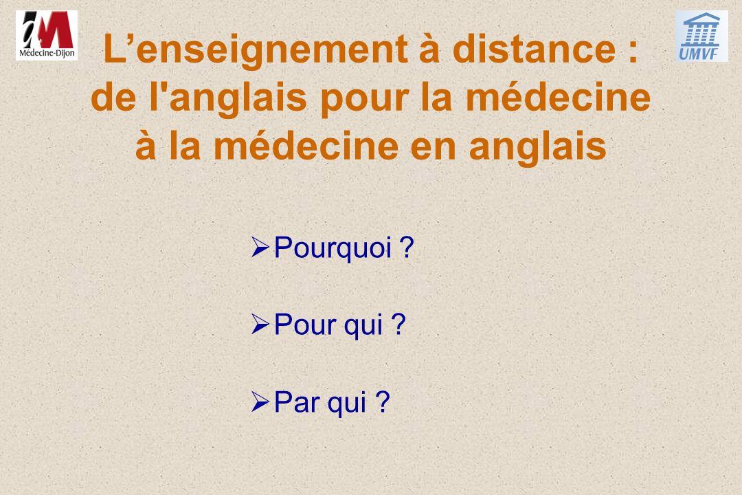Lenseignement à distance : de l'anglais pour la médecine à la médecine en anglais Pourquoi ? Pour qui ? Par qui ?