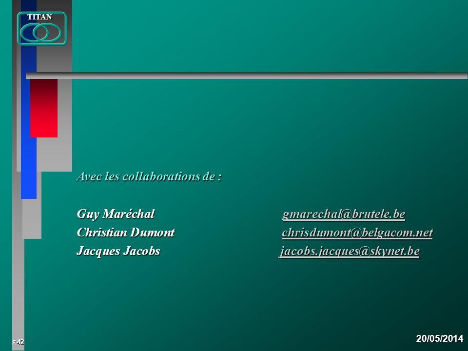 42 FTITAN20/05/2014 Avec les collaborations de : Guy Maréchal gmarechal@brutele.be gmarechal@brutele.be Christian Dumont chrisdumont@belgacom.net Jacq