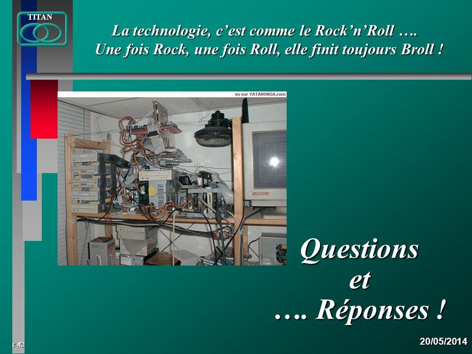 43 FTITAN20/05/2014 Questions et …. Réponses ! La technologie, cest comme le RocknRoll …. Une fois Rock, une fois Roll, elle finit toujours Broll !