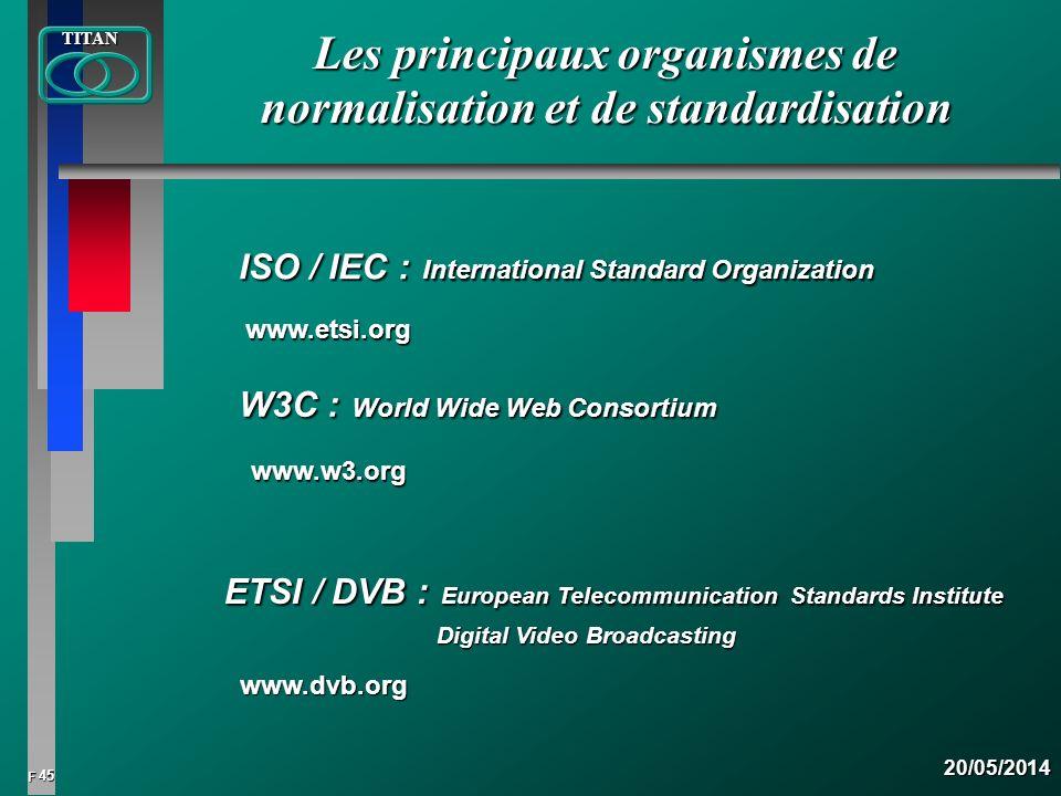 45 FTITAN20/05/2014 Les principaux organismes de normalisation et de standardisation ISO / IEC :International Standard Organization ETSI / DVB :Europe