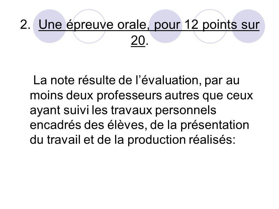 2. Une épreuve orale, pour 12 points sur 20. La note résulte de lévaluation, par au moins deux professeurs autres que ceux ayant suivi les travaux per
