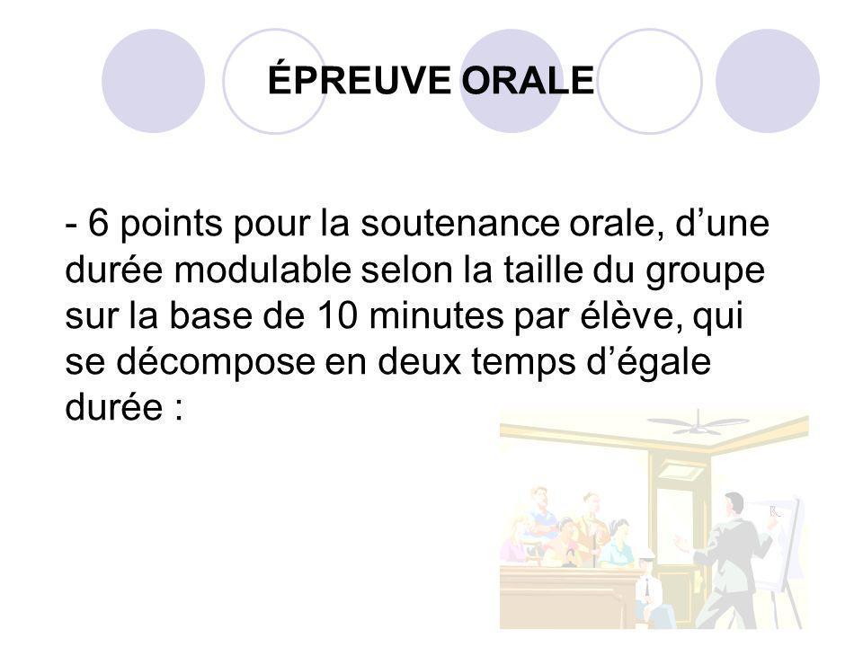 ÉPREUVE ORALE - 6 points pour la soutenance orale, dune durée modulable selon la taille du groupe sur la base de 10 minutes par élève, qui se décompose en deux temps dégale durée :