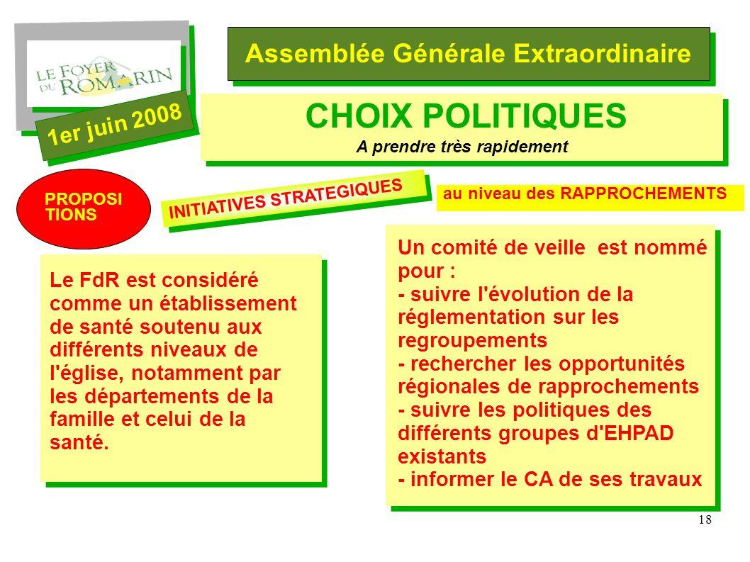 18 Assemblée Générale Extraordinaire 1er juin 2008 CHOIX POLITIQUES A prendre très rapidement Le FdR est considéré comme un établissement de santé soutenu aux différents niveaux de l église, notamment par les départements de la famille et celui de la santé.
