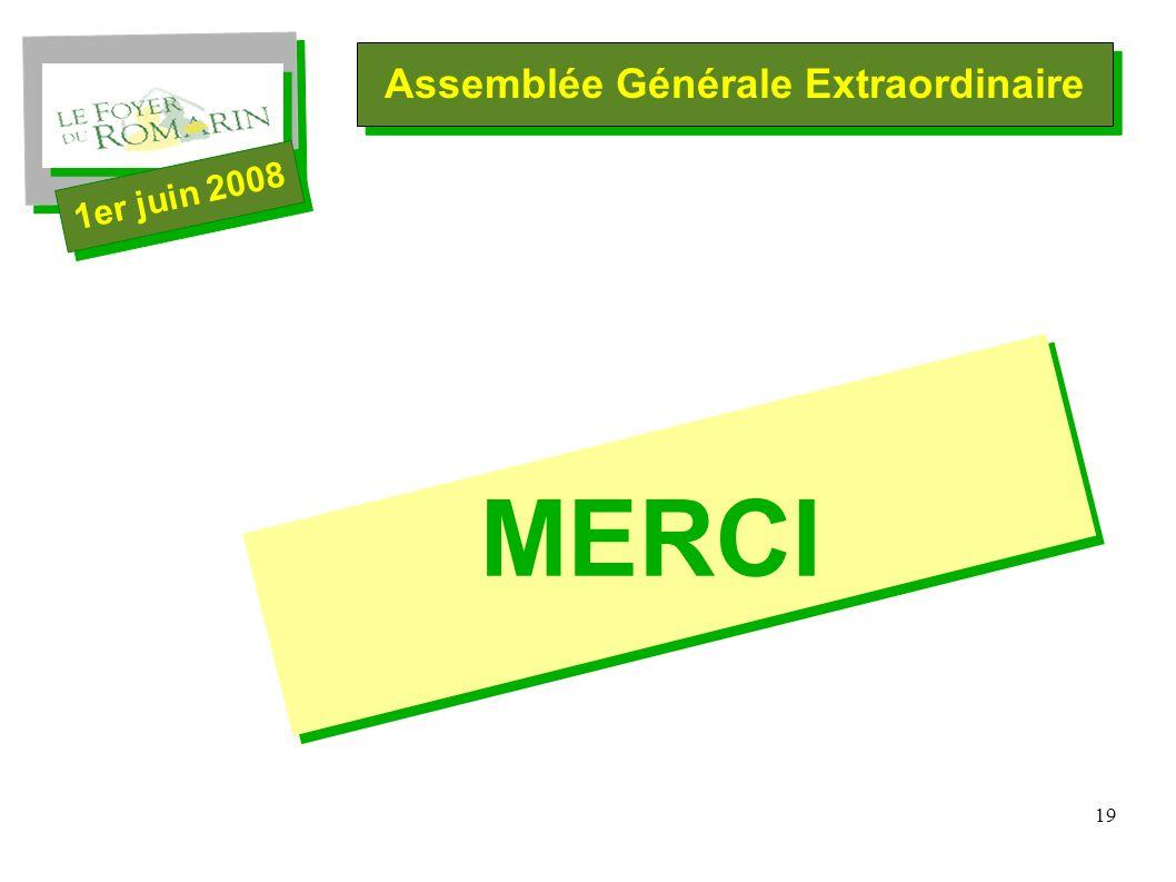 19 Assemblée Générale Extraordinaire 1er juin 2008 MERCI