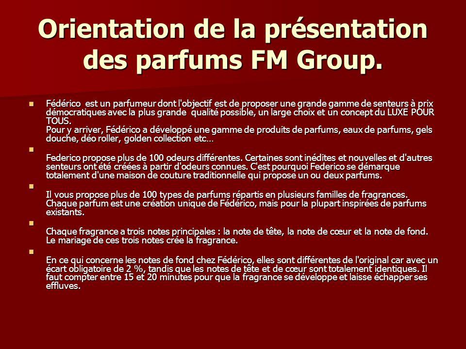 Orientation de la présentation des parfums FM Group. Fédérico est un parfumeur dont l'objectif est de proposer une grande gamme de senteurs à prix dém