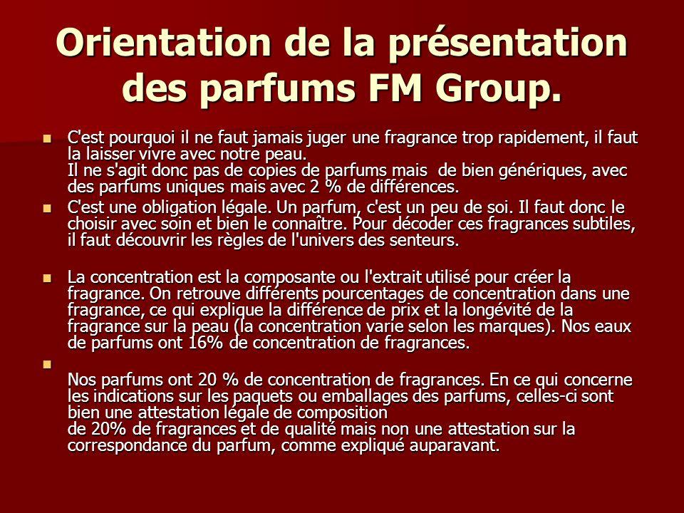 Orientation de la présentation des parfums FM Group. C'est pourquoi il ne faut jamais juger une fragrance trop rapidement, il faut la laisser vivre av