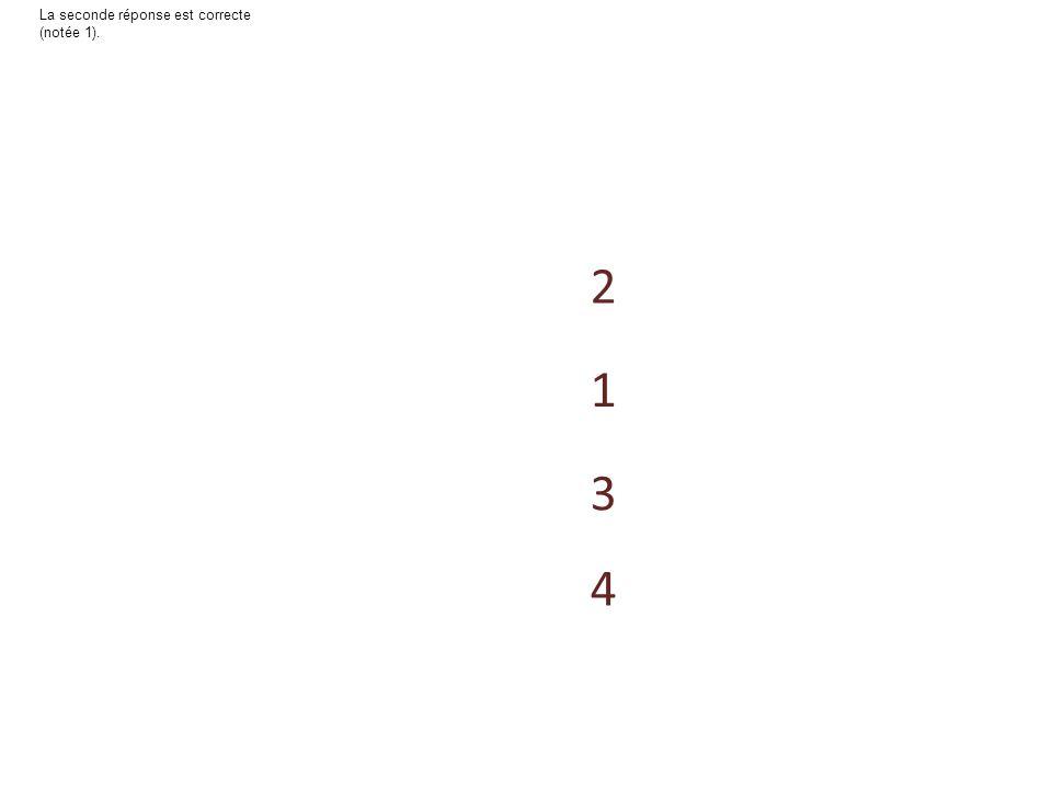 4 3 2 1 La première réponse est correcte (notée 1).