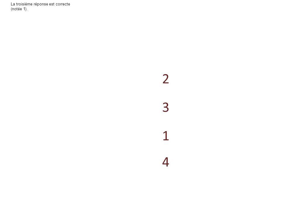 4 3 1 2 La seconde réponse est correcte (notée 1).