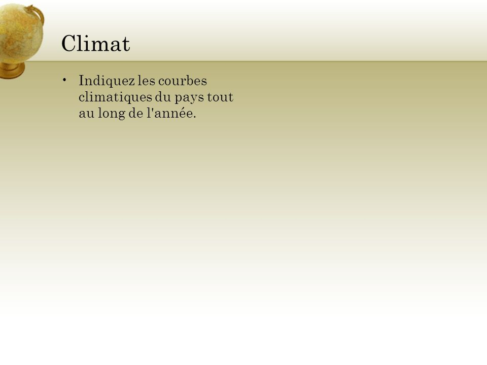 Climat Indiquez les courbes climatiques du pays tout au long de l'année.