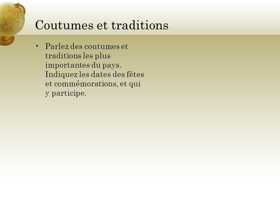 Coutumes et traditions Parlez des coutumes et traditions les plus importantes du pays. Indiquez les dates des fêtes et commémorations, et qui y partic