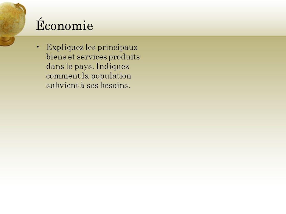 Économie Expliquez les principaux biens et services produits dans le pays. Indiquez comment la population subvient à ses besoins.